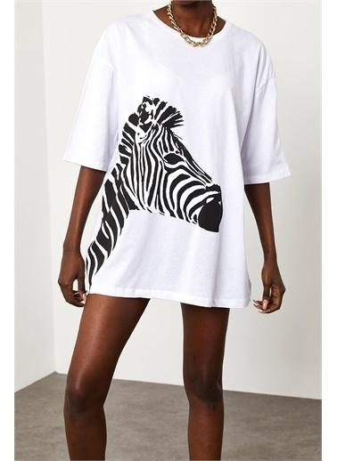 XHAN Baskılı Salaş T-Shirt 1Yxk1-44889-01 Beyaz